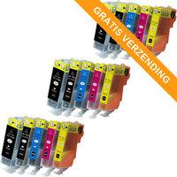 3 sets Canon PGI-520 / CLI-521 set van VIJF inktcartridges (huismerk met chip)