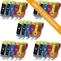 5 sets Canon PGI-520 / CLI-521 set van VIJF inktcartridges (huismerk met chip)