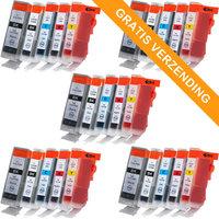 5 sets Canon PGI-5 / CLI-8 set van VIJF inktcartridges (huismerk met chip)