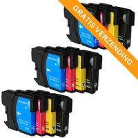 3 sets Brother LC-980 / LC-1100 inktcartridges (huismerk)