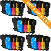 5 sets Brother LC-980 / LC-1100 inktcartridges (huismerk)