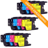 3 sets Brother LC-1220 / LC-1240 inktcartridges (huismerk)