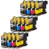3 sets Brother LC-121 / LC-123 inktcartridges (huismerk met chip)